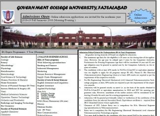 Govt College University GCU Faisalabad Admissions 2018