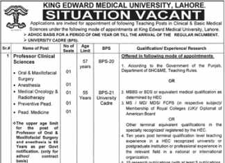 King Edward Medical University Jobs 2017 KEMU Application Form