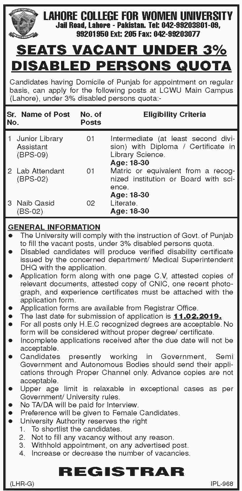 Lahore College For Women University LCWU Jobs 2019 Application Form