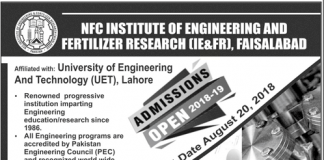 NFC Institute Of Engineering & Fertilizer Research Faisalabad Admissions 2018