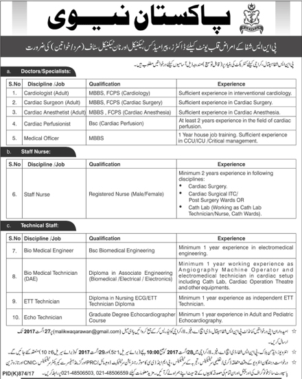 PNS Shifa Hospital Karachi Jobs 2017 Application Form, August Advertisement