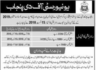 Punjab University PU B.Com Part 1, 2 Private Exams Registration 2019 Fee Dates