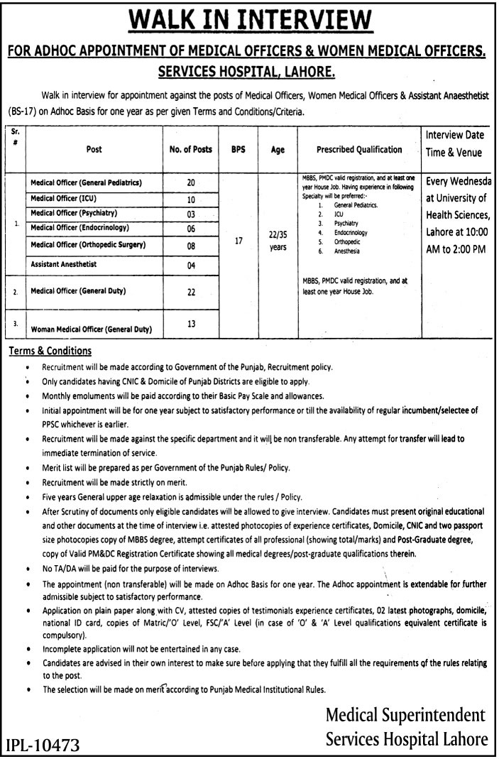 Services Hospital Lahore Jobs 2017 Medical Officer Application form