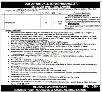 Services Hospital Lahore Jobs 2017 Pharmacist Application form