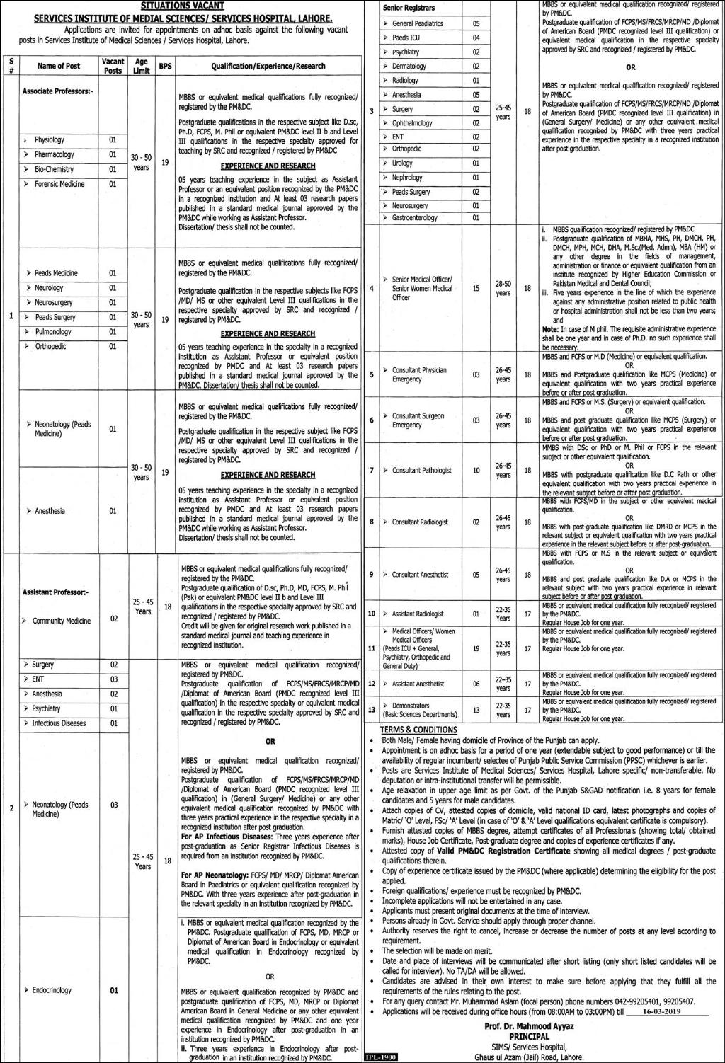 Services Hospital Lahore Jobs 2019 Application Form Advertisement