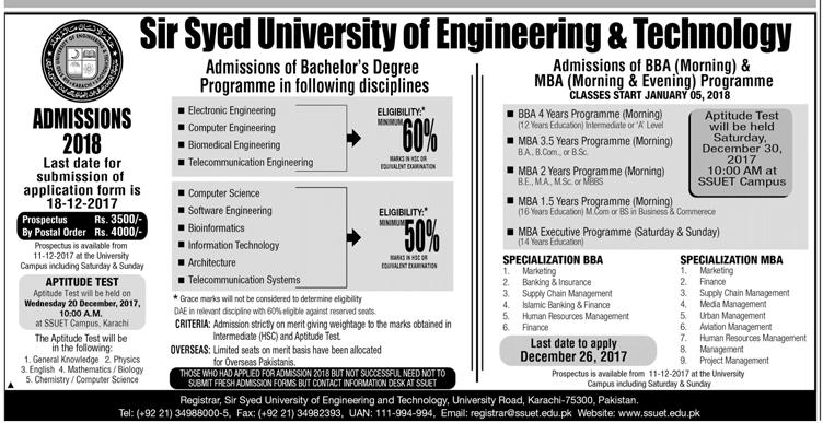 Sir Syed University Of Engineering and Technology Karachi Admission 2018