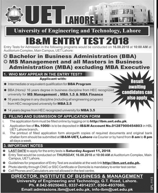 UET Lahore IB&M Admissions 2018 Form Online