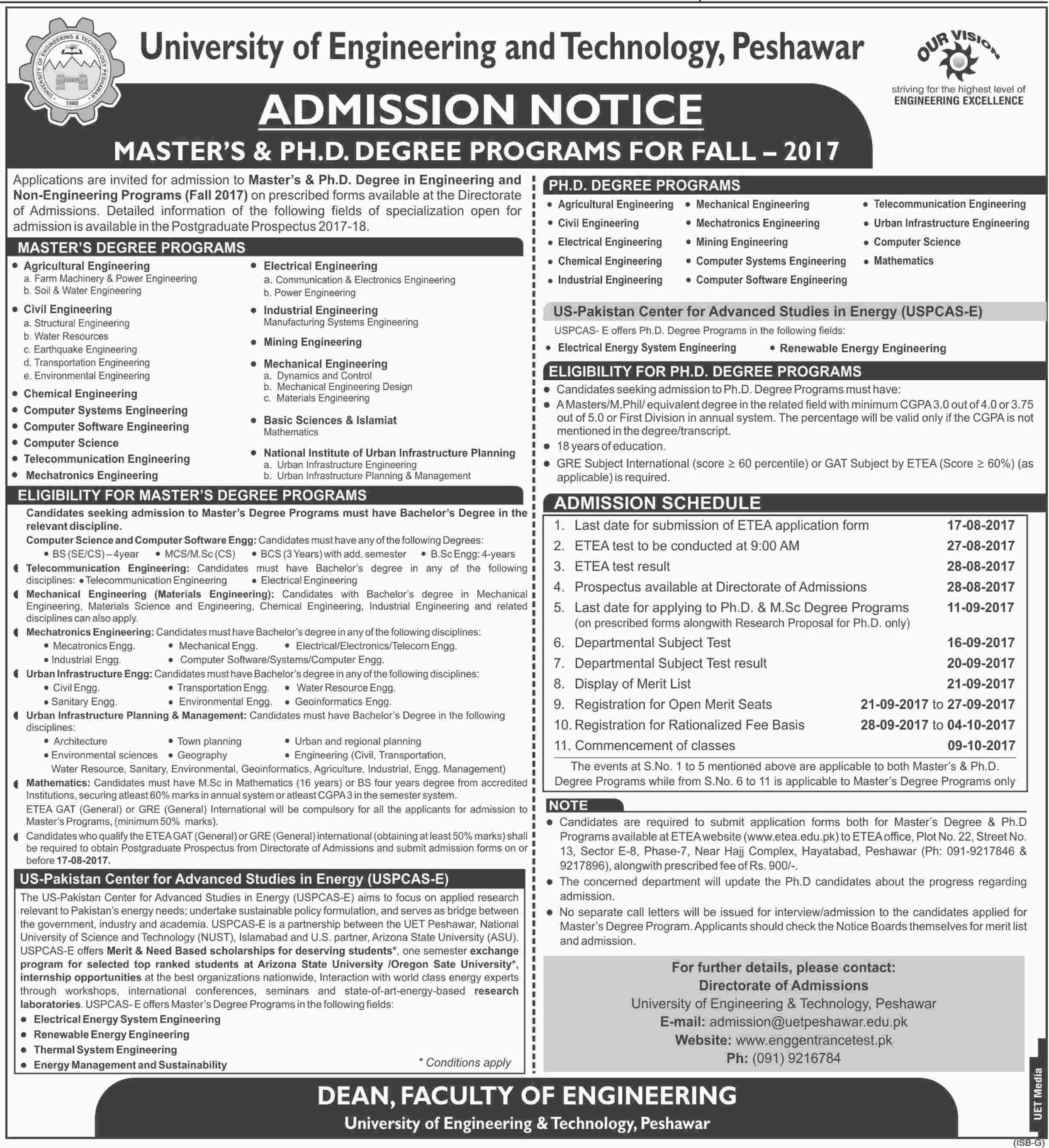 UET Peshawar Masters, PhD Admission 2017 Form, Entry Test Date