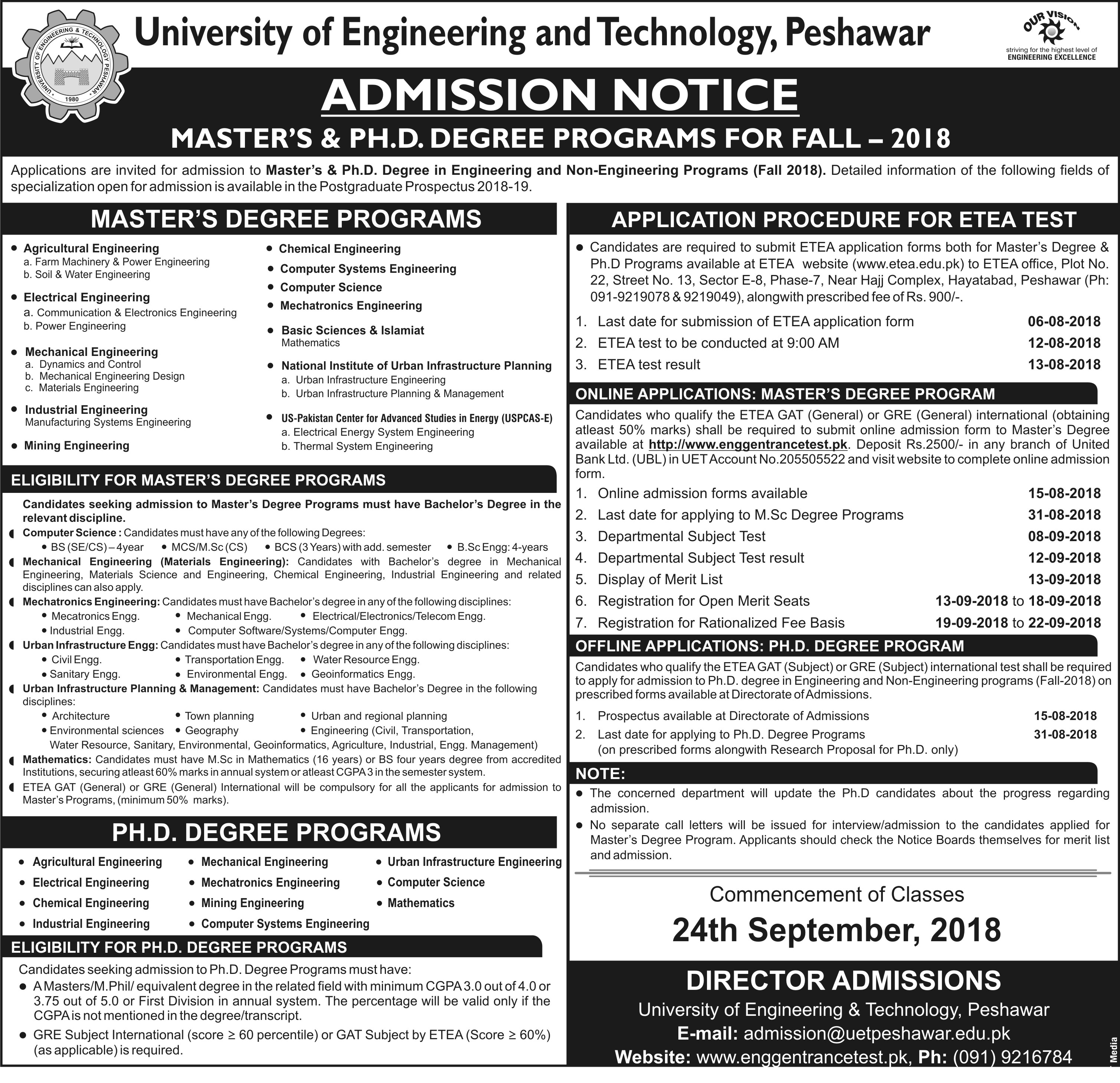 UET Peshawar Masters, PhD Admission 2018 Form, Entry Test Date