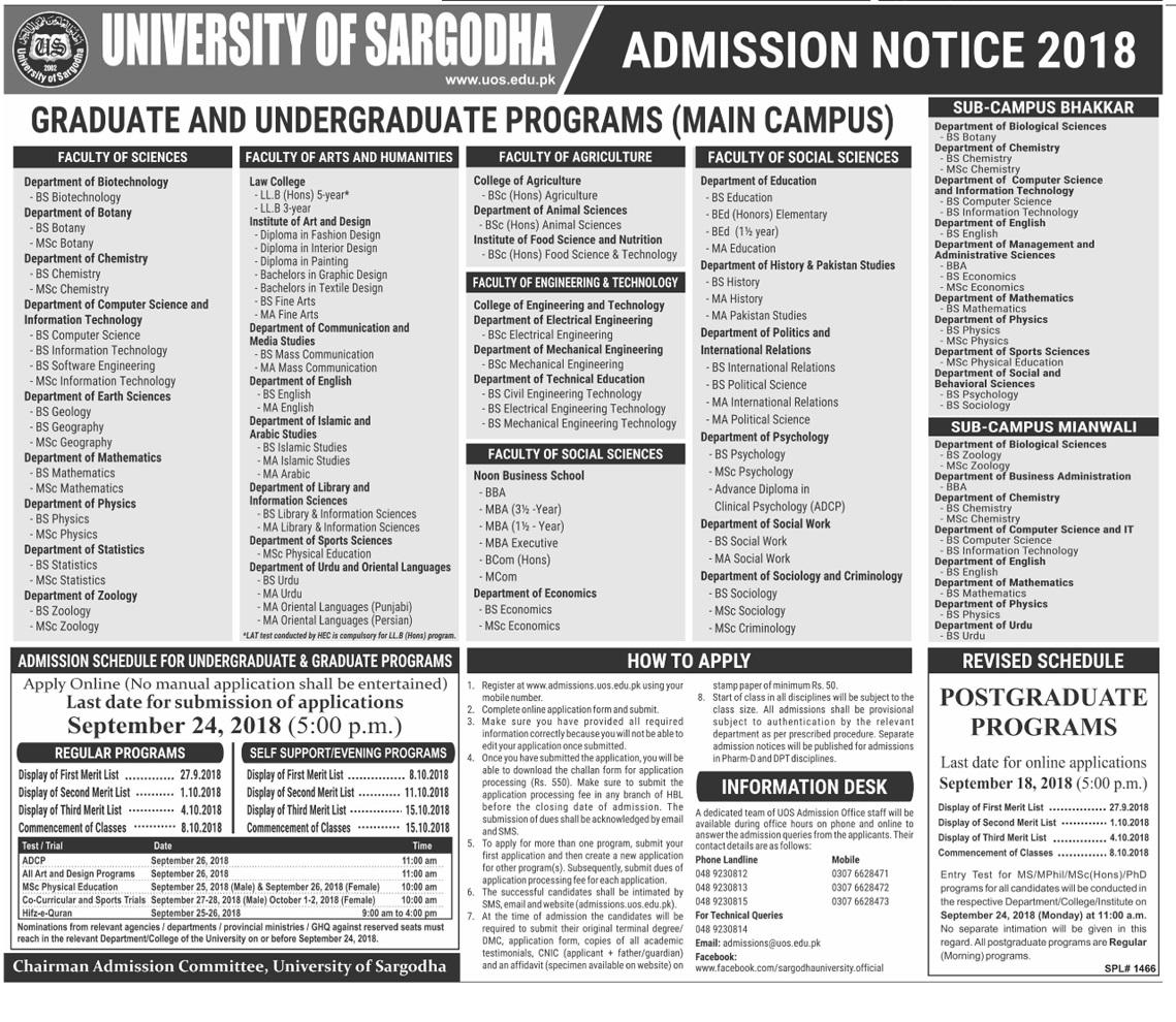 University Of Sargodha UOS Admissions 2018 Form Download Online