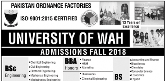 University of Wah BSc Engineering Admission 2018