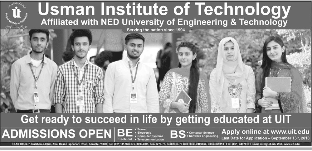 Usman Institute Of Technology Karachi Admission 2018
