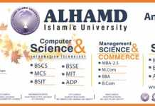 Alhamd Islamic University Islamabad Admission 2018