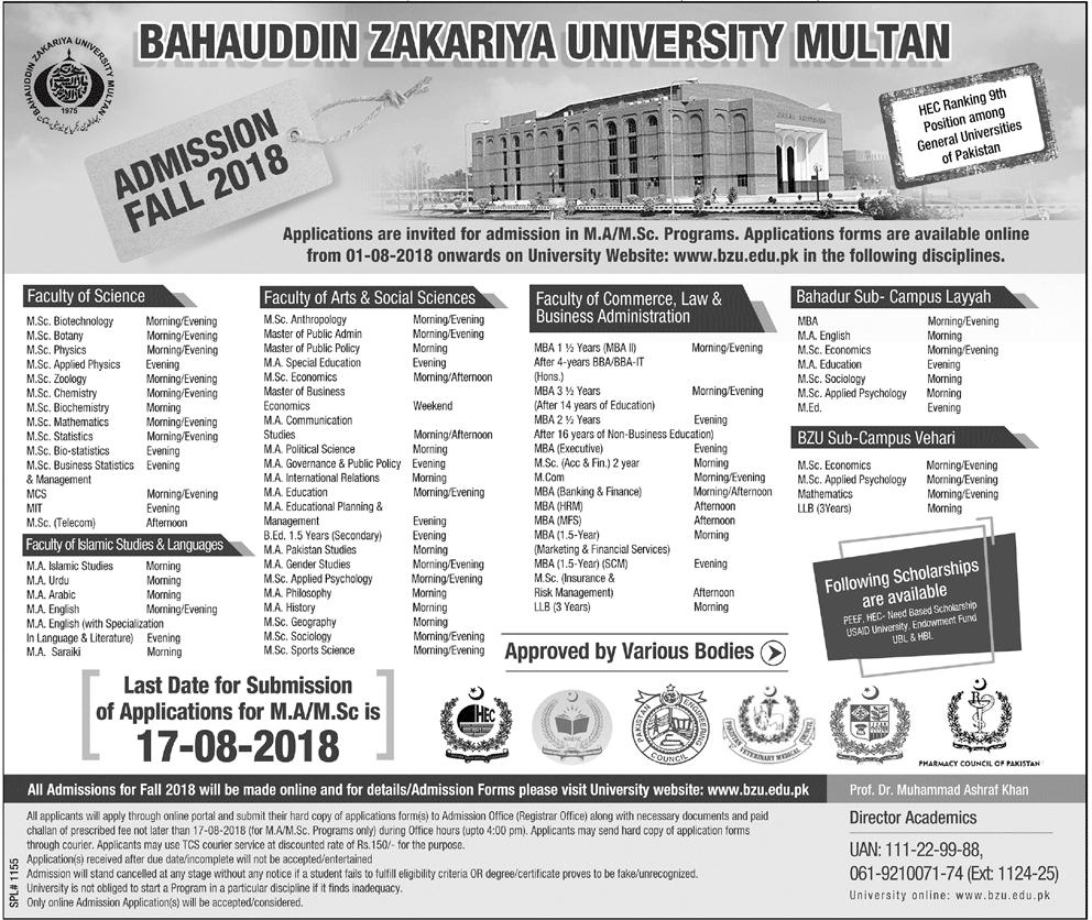 BZU Multan MS, Mphil, MSc, LLM Admissions Fall 2018