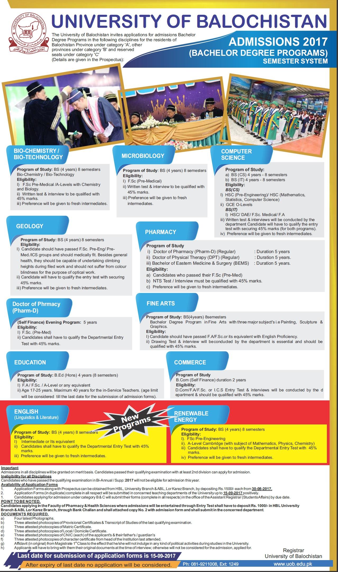 Balochistan University Quetta Admission 2017