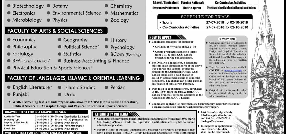GC University Lahore BA, BSc, B.Com Admission 2018 Form, Last Date