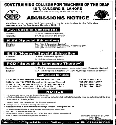 Govt Training College For Teachers Of Deaf Lahore Admission 2017