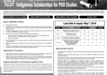 HEC Indigenous Scholarship For Phd 2018 Application Form, Result, Merit List