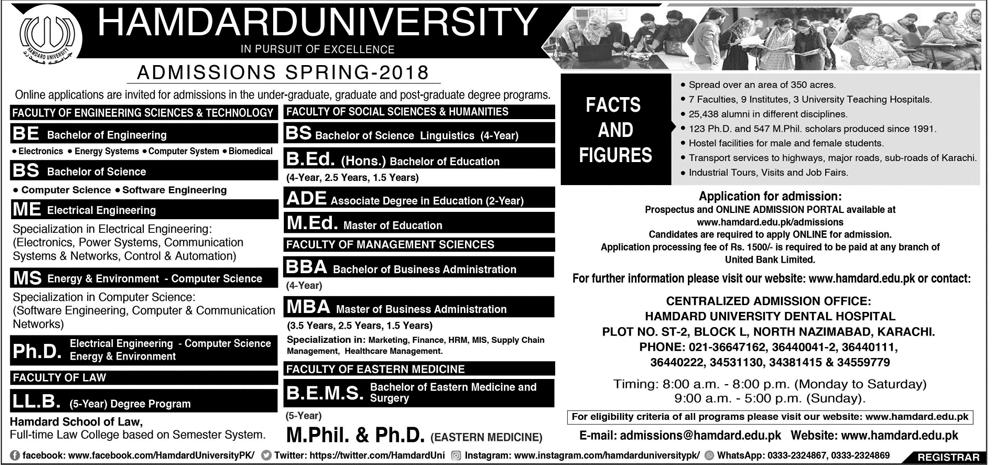 hamdard university karachi admissions 2018