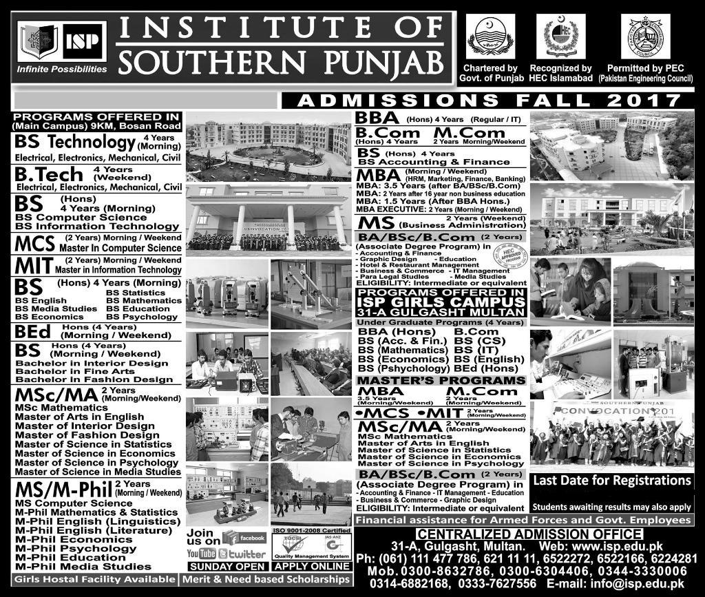 Institute of Southern Punjab ISP Multan Admission 2017