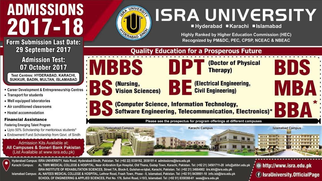 Isra University Hyderabad Admission 2019