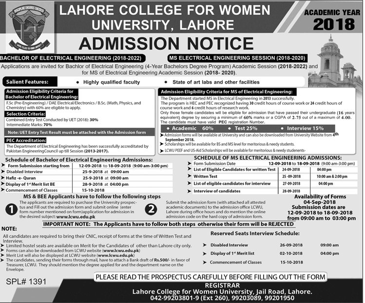 LCWU Lahore BS Electrical Engineering Merit List 2018