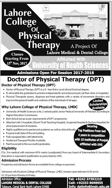 Lahore College Of Physical Therapy Admissions 2018