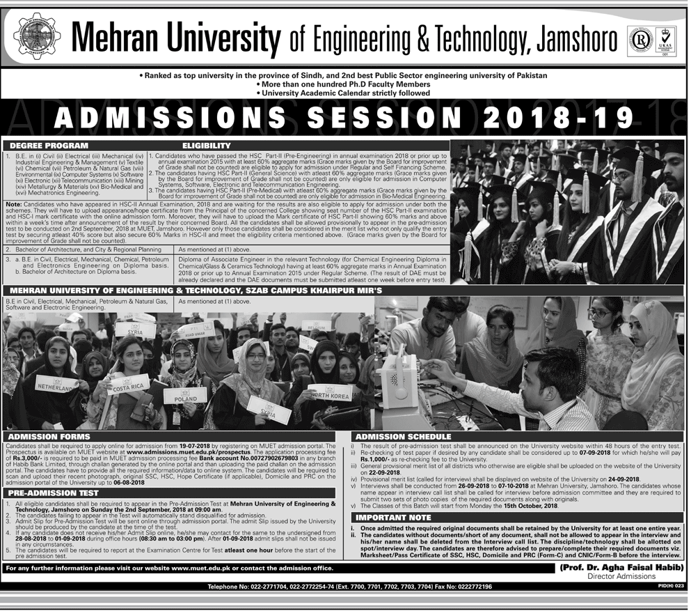 Mehran University Of Engineering And Technology MUET Admission 2018-2019