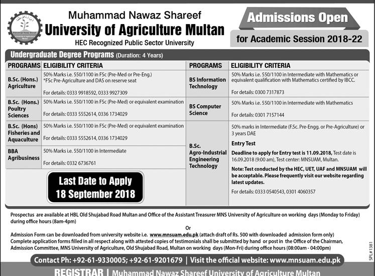 Muhammad Nawaz Sharif University of Agriculture Multan BSc