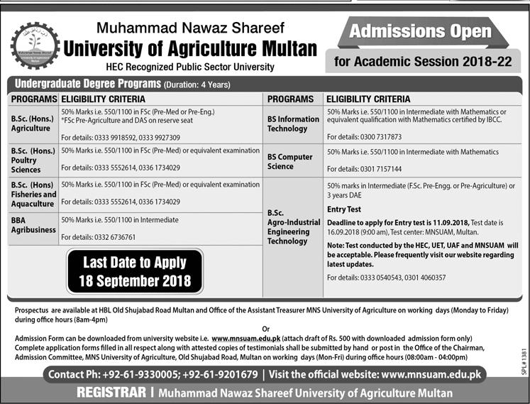 Muhammad Nawaz Sharif University of Agriculture Multan BSc Admission 2018