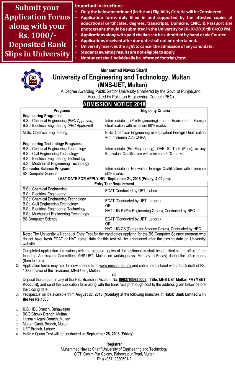 Muhammad Nawaz Sharif University of Engineering Multan Admission 2018