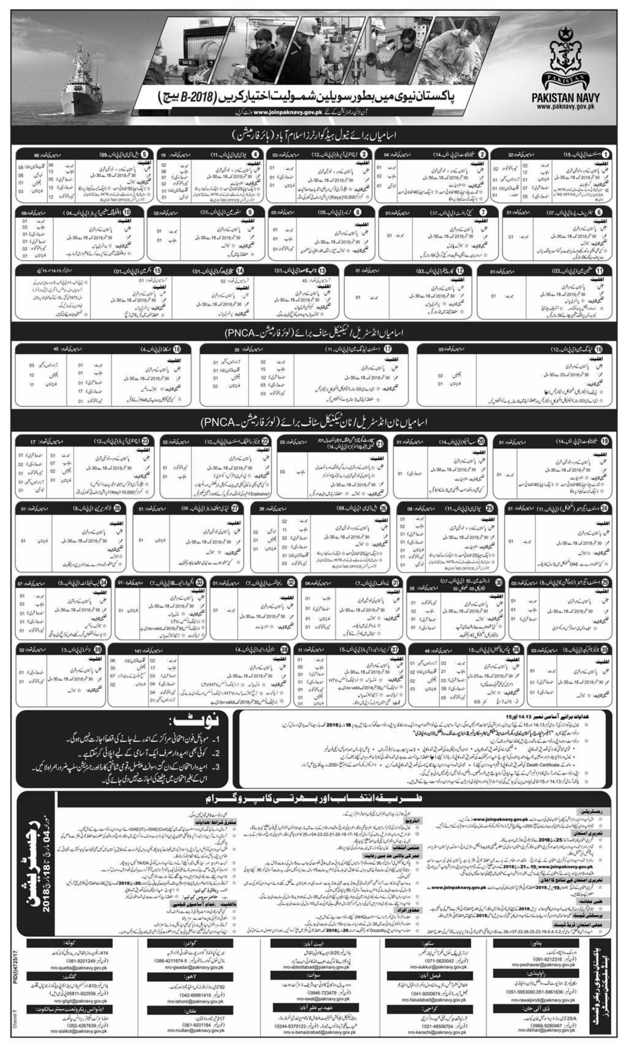 Pakistan Navy Civilian Jobs 2018 Online Registration Batch B 2018 Advertisement