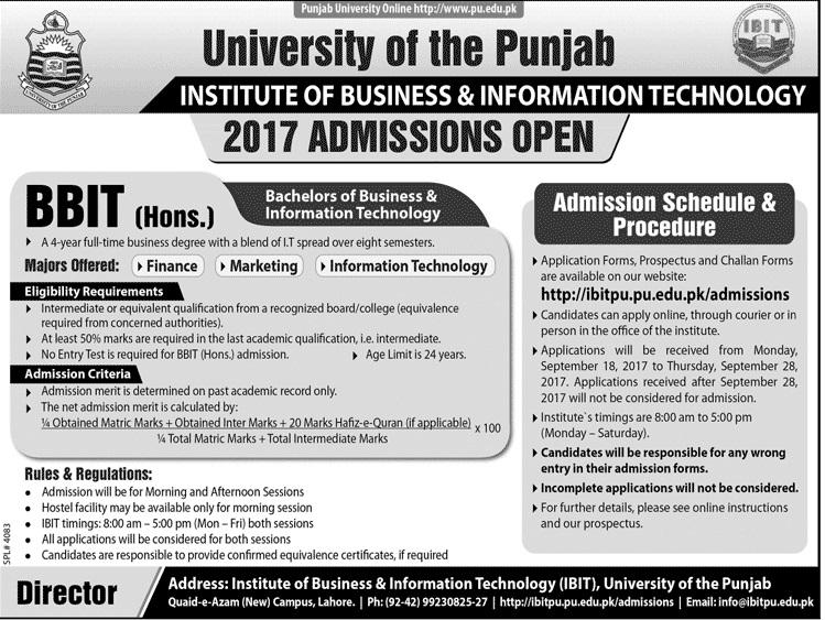 Punjab University PU BBIT Admission 2017 Merit List