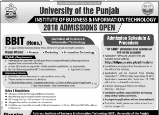 Punjab University PU BBIT Admission 2018 Merit List