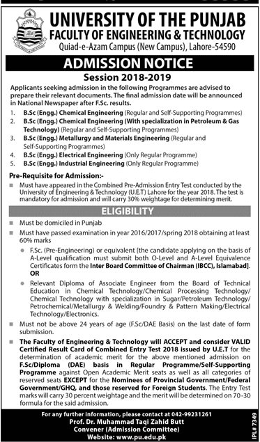Punjab University PU Engineering Admission 2018