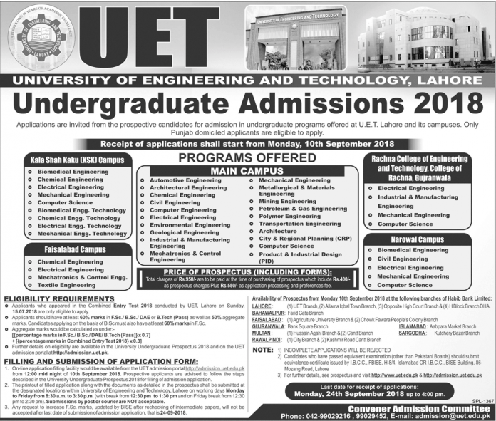 UET Kala Shah Kaku KSK Admission 2018