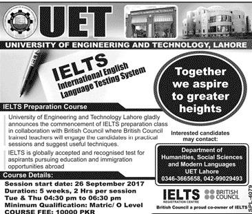 UET Lahore Ielts Preparation Short Course Registration 2017