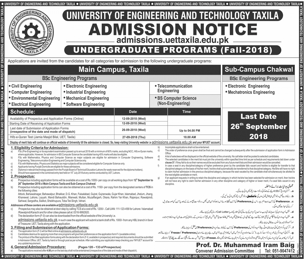 University of Engineering and Technology UET Taxila Admissions 2018