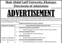Shah Abdul Latif University Khairpur Admission 2019-20 Bachelor and Master