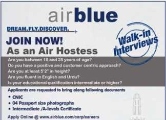 Air Blue Air Hostess Jobs In Lahore 2018