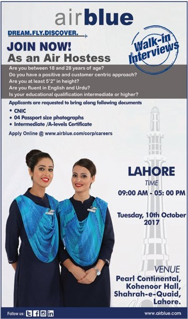 Air Blue Air Hostess Jobs In Lahore 2018