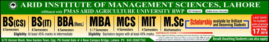 Arid Institute Of Management Sciences Lahore Campus Admissions 2018