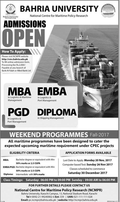 Bahria University Karachi Weekend Program Admission 2018