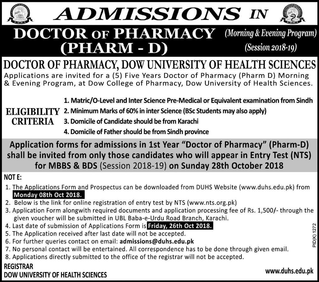 Dow University Admission Pharm D 2018-19 Advertisement