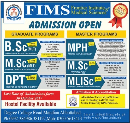 Frontier Institute Of Medical Sciences Abbottabad FIMS Admission 2017