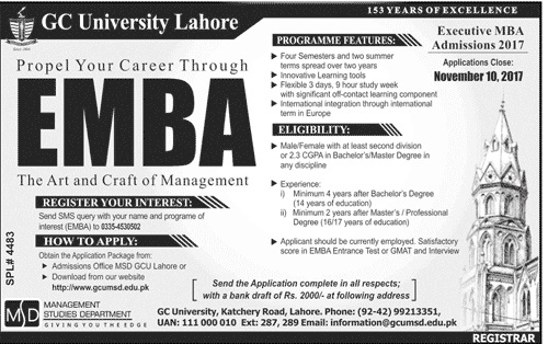 GC University Executive MBA Admission 2017 Form Download