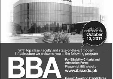 IBS Islamabad Business School Admission 2019