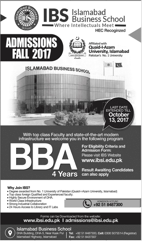 Islamabad Business School Admission 2018