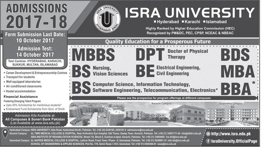 Isra University Admission 2018