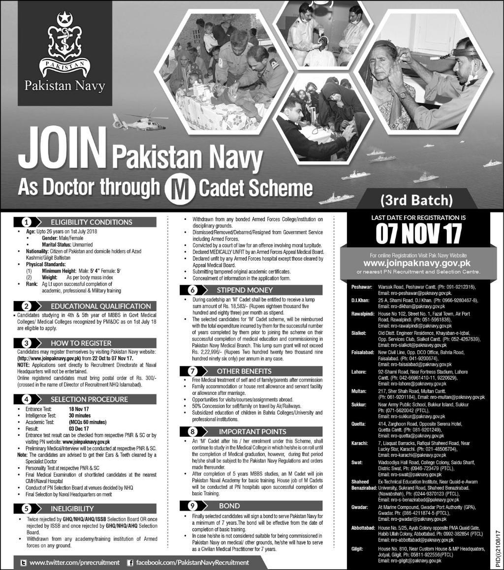 Join Pakistan Navy As Doctor 2017 M Cadet Scheme Online Registration Form